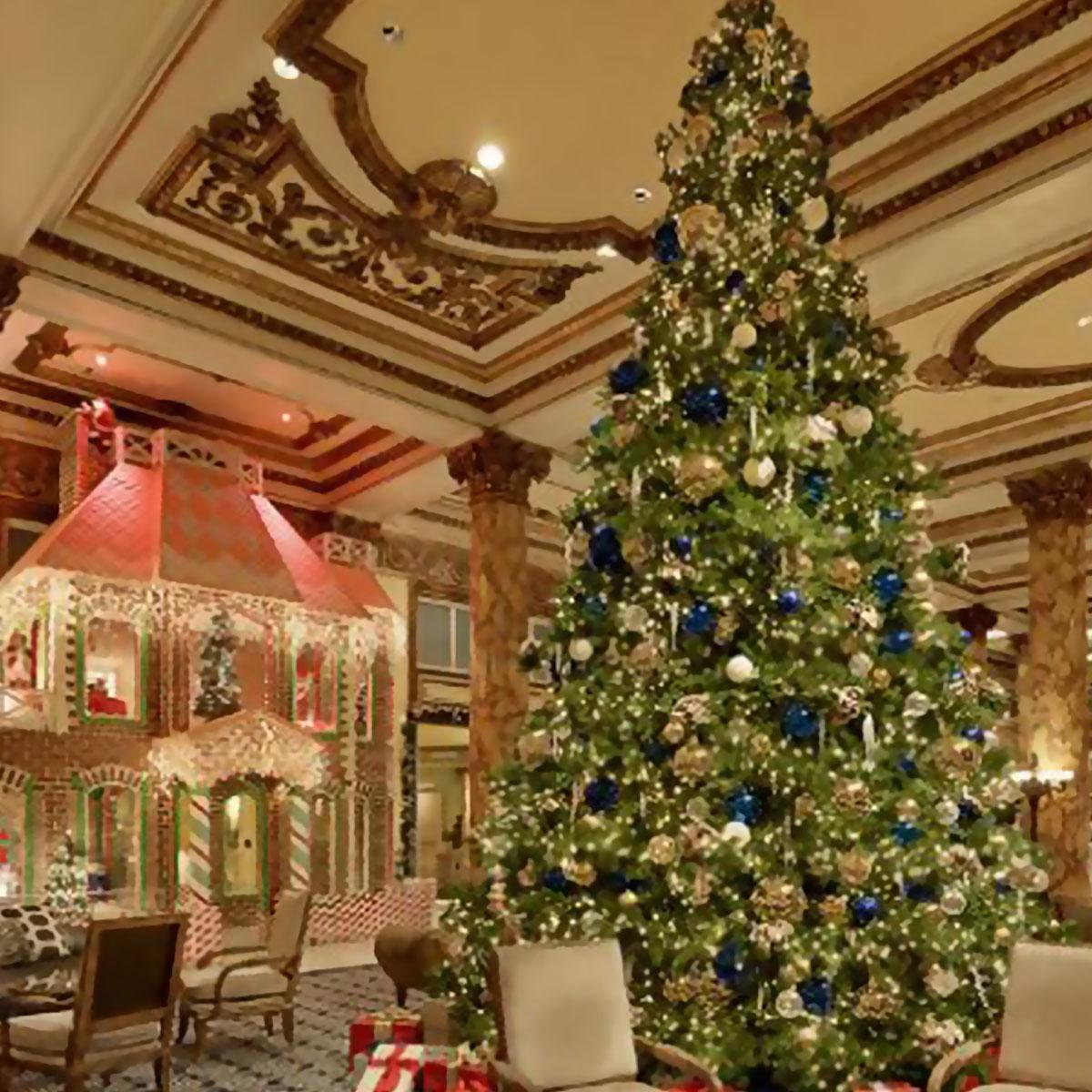 Big Christmas tree, interior, Winter vacations & holiday travel  luxury hotels