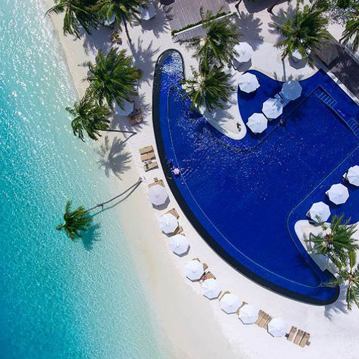 Beach and pool, aerial view, Winter vacations & holiday travel, luxury hotels