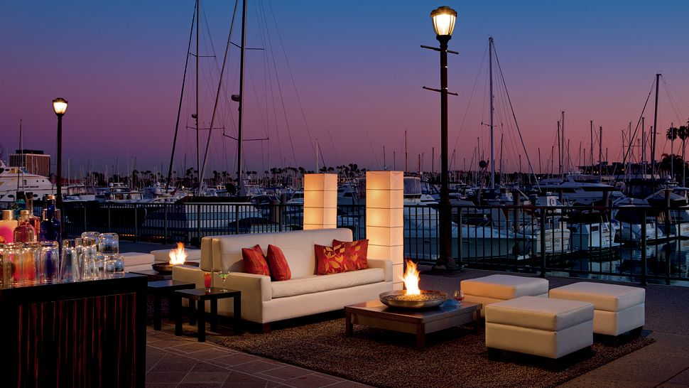 Outdoor Patio Lounge Marina Sunset