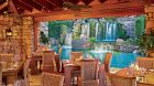 bar with waterfall view