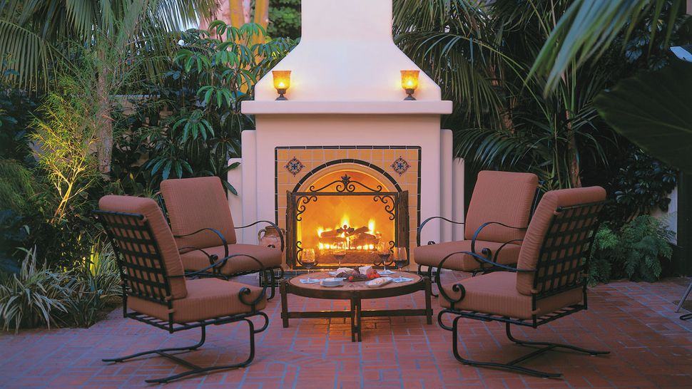 Four seasons resort the biltmore santa barbara california for Spanish outdoor fireplace