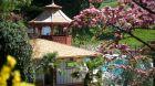 Garden and pool  Castel  Fragsburg.