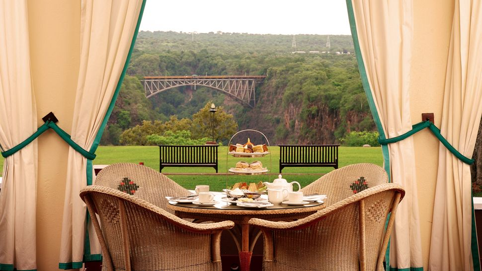 Victoria Falls Hotel Entrance Bedroom Library Red Afternoon Tea Time Waterfalls View
