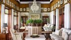 Sitting room with chandelier