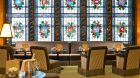 Dining with stain glass windows