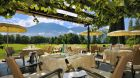 Patio dining with mountain view