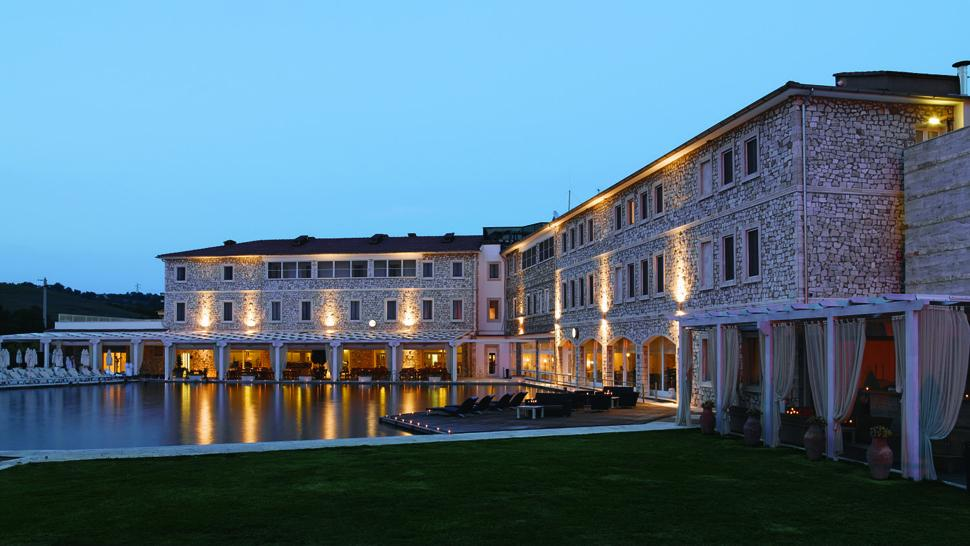 See More Information About Terme Di Saturnia Spa Golf Resort Exterior Pool Night