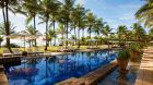 Outdoor pool palm trees