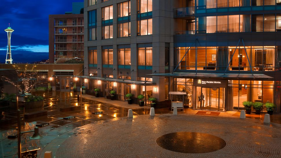 See More Information About Pan Pacific Seattle Hotel Entrance Night E Needle