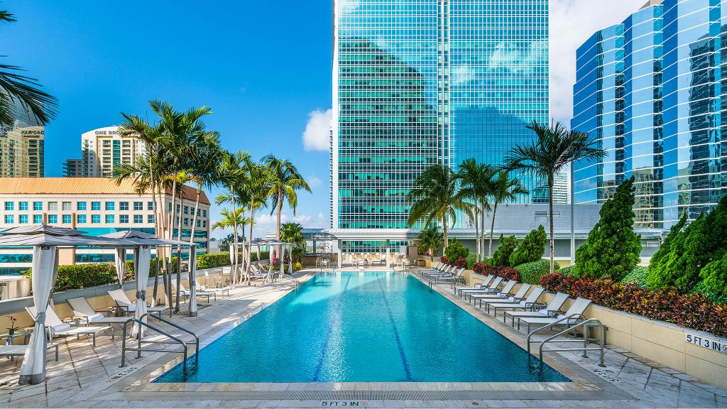 best city breaks, top city breaks, city break destinations, luxury boutique hotels, Conrad Miami, pool view