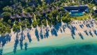 Aerial View of Beachfront Pool Villas and Tovolea Six Senses Fiji